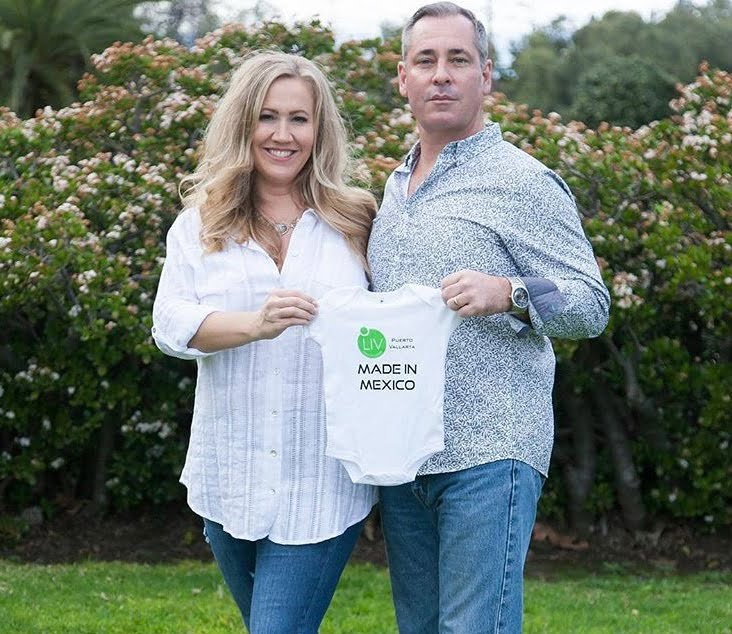 Candace Mitcham and Husband with LIV Onsie Made in Mexico