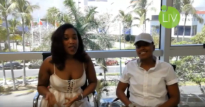 Couple matched in white outfits discusses their IVF Mexico journey.