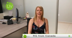 RG (female fertility patient) sitting in chair sharing her experience with IVF Mexico